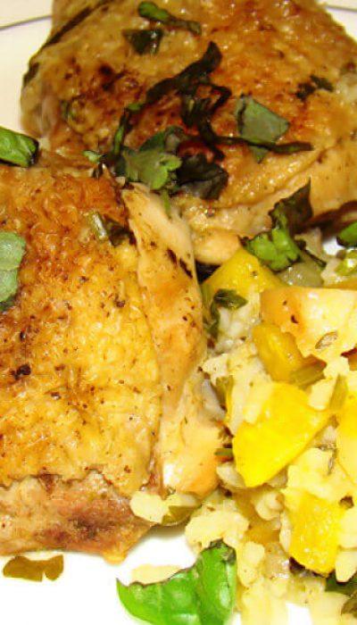 Vištienos troškinys su ryžiais ir moliūgu