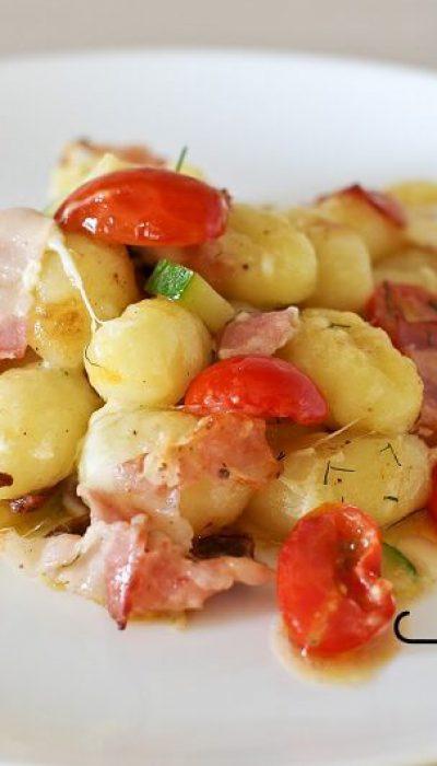 Bulvių virtinukai su mocarela ir šonine