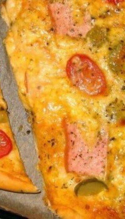 Bemielės tešlos pica