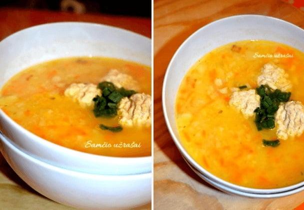 Trinta žirnių sriuba su vištienos kukuliais