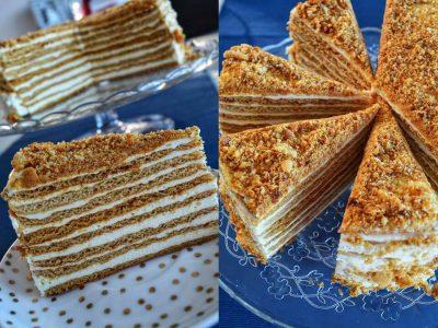 Medaus tortas su grietinėle
